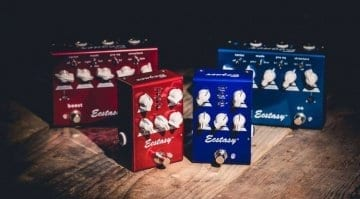 Bogner Ecstasy Red and Blue Mini pedals