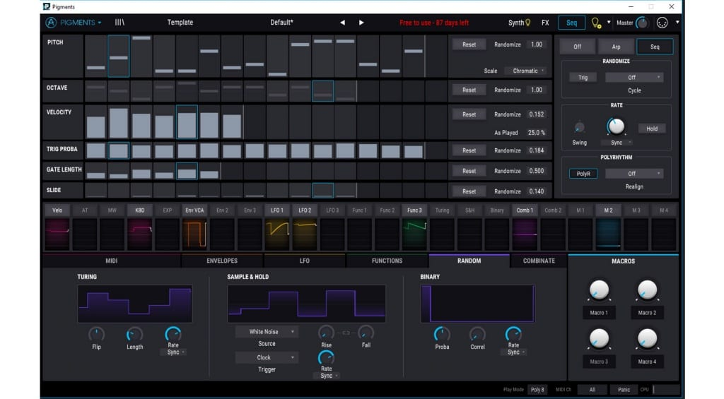 Arturia Pigments Sequencer and Random modulators