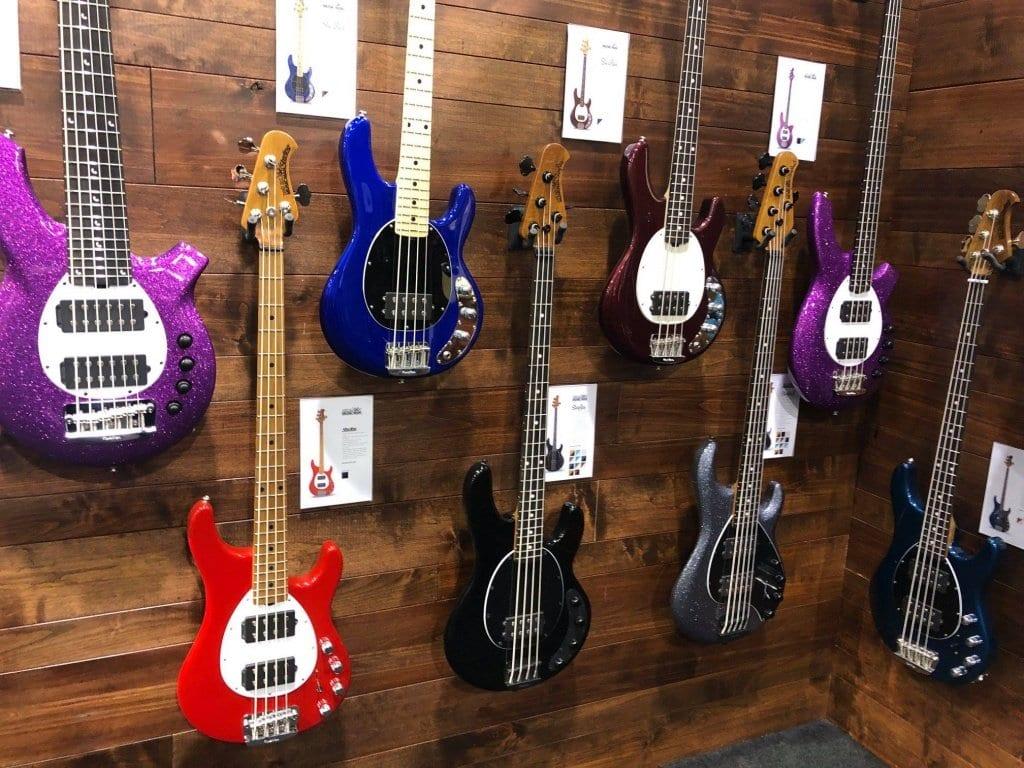 Ernie Ball Music Man NAMM 2019 Booth Stingray Short Scale bass models
