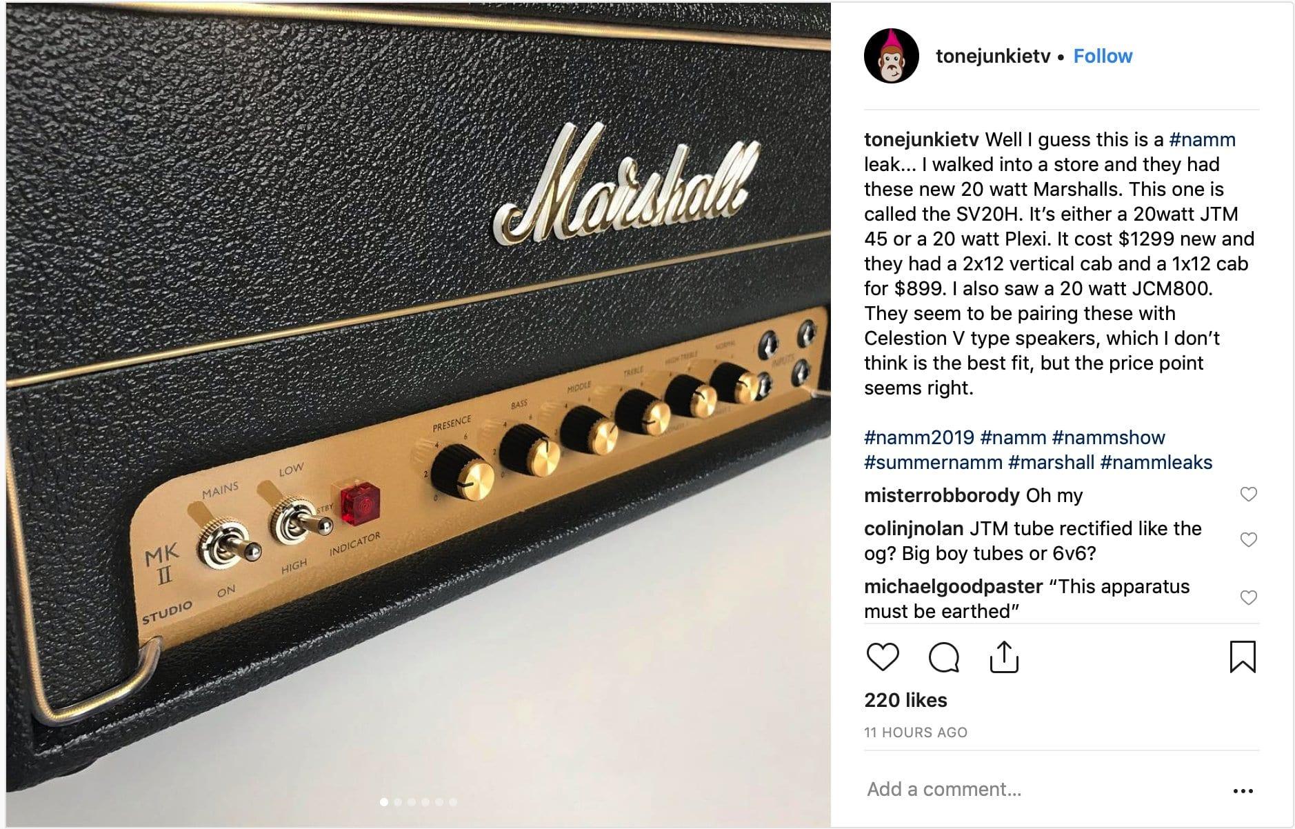 Marshall SV20H Instagram leak