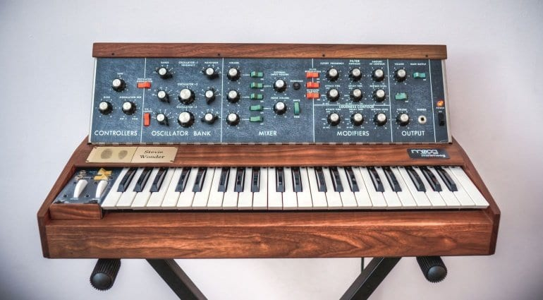 Minimoog signed by Stevie Wonder
