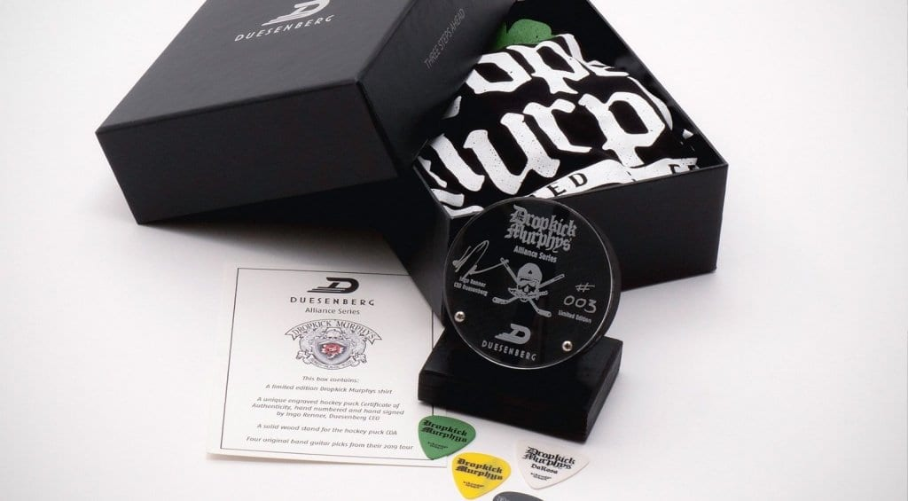 Duesenberg Dropkick Murphys' goodie bag and puck