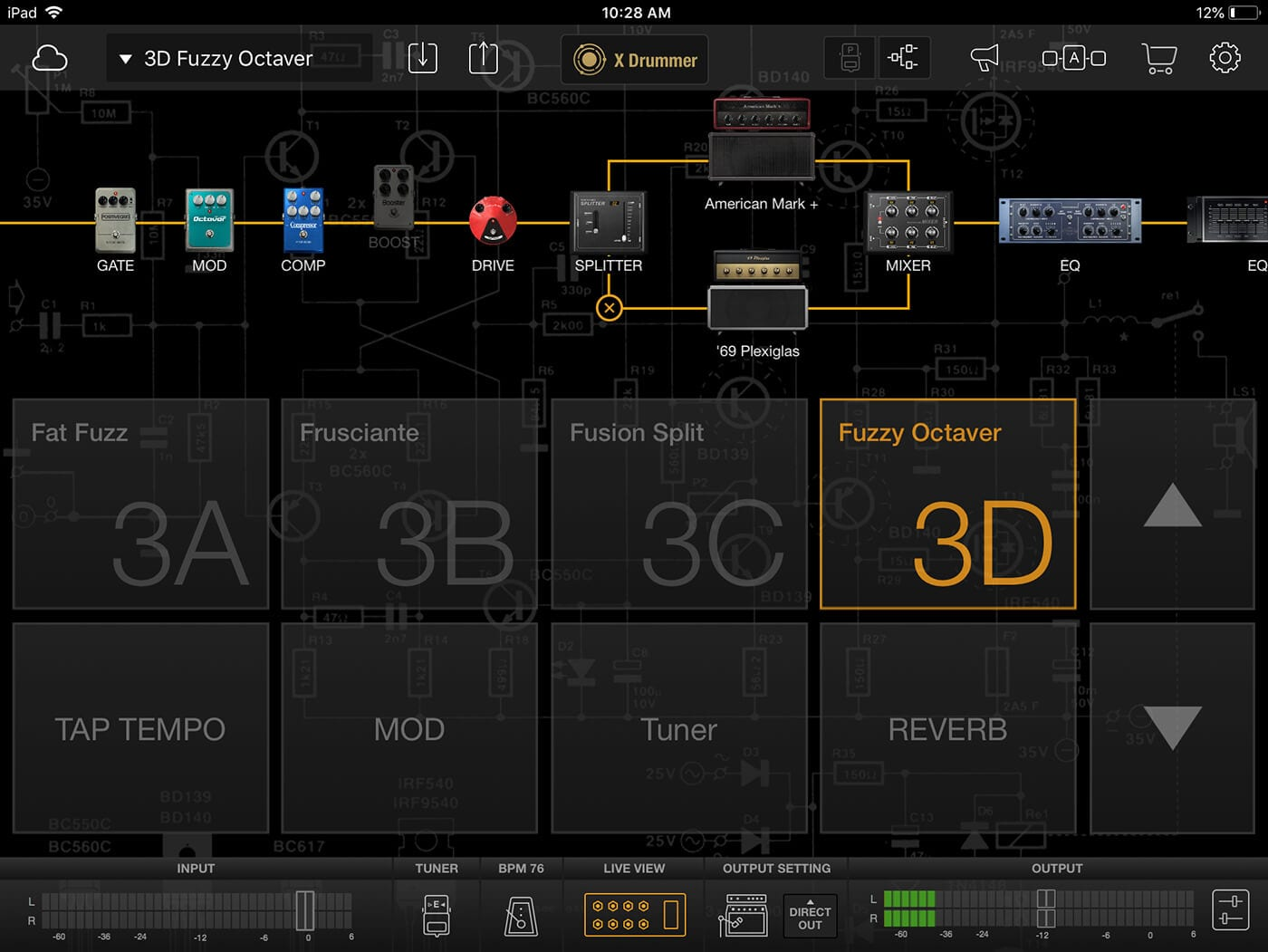 ias FX app's Live View Mode on an iPad