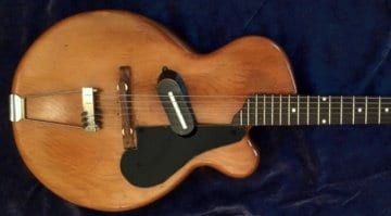 O.W. Appletonclaimed that in 1943 he brought a solid body, single cutaway, electric Spanish style guitar