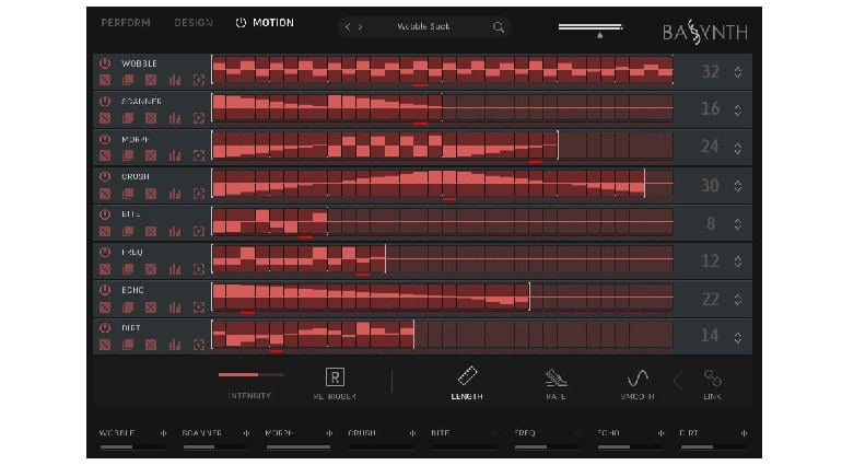 Wave Alchemy BASSYNTH Motion page