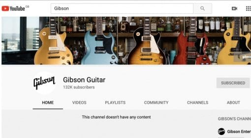 All Gibson's official YouTube videos pulled?