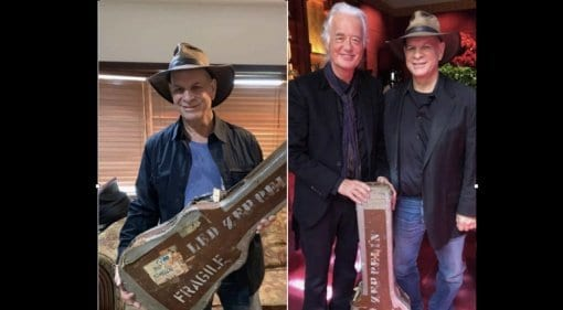 Jimmy Page reunited with guitar case after 47 years