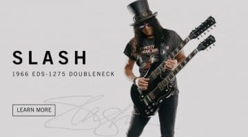 Gibson Custom Shop Slash Signed 1966 EDS 1275 Doubleneck Replica Aged Ebony front