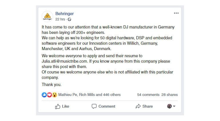 Behringer Facebook post
