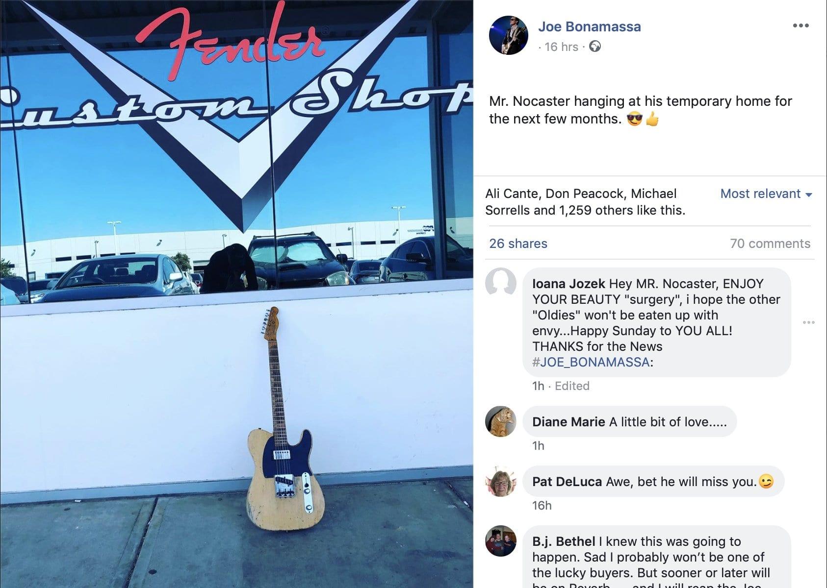 Joe Bonamassa teases Fender Custom Shop with Nocaster drop off