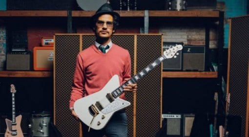 Omar Rodríguez-López gets that new Ernie Ball Music Man Mariposa