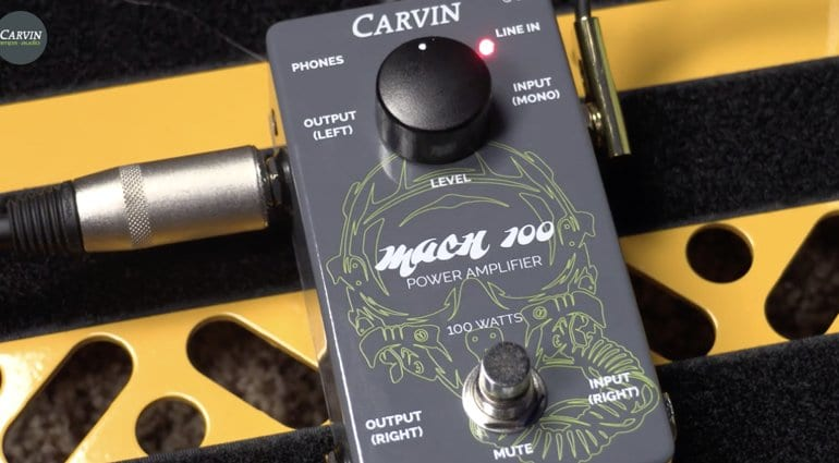 Carvin MACH100 squeezes a 100-Watt stereo amp into a pocket-sized pedal