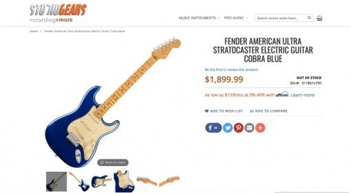 Fender American Ultra Series Stratocaster Cobra Blue