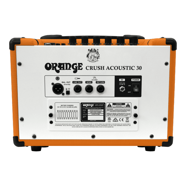 Orange Crush Acoustic 30 rear panel