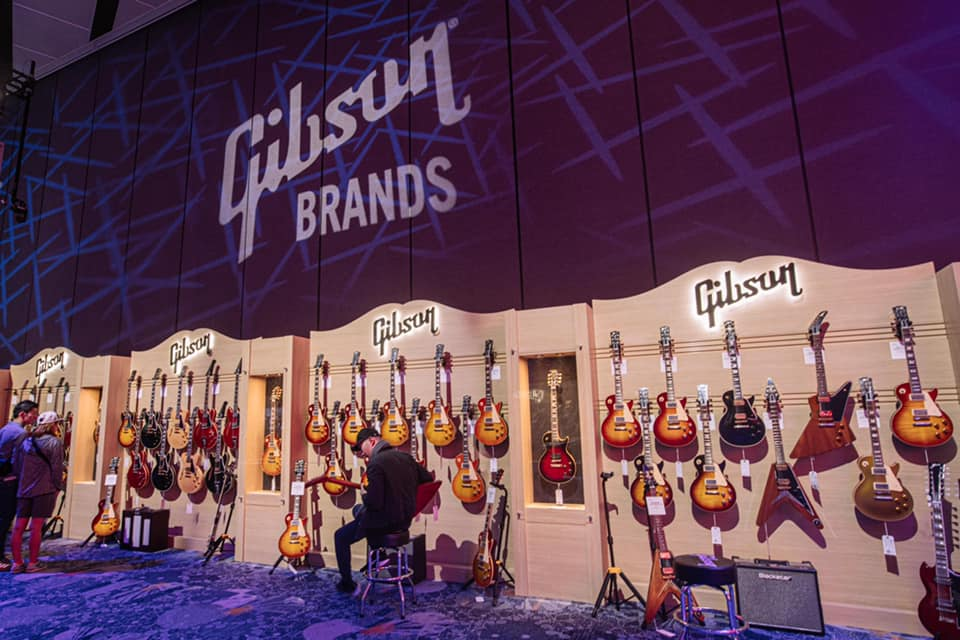 Gibson wall at WInter NAMM