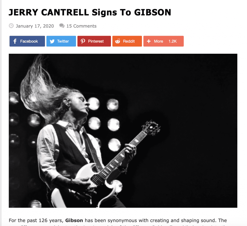 Jerry Cantrell to join Gibson as Brand Ambassador