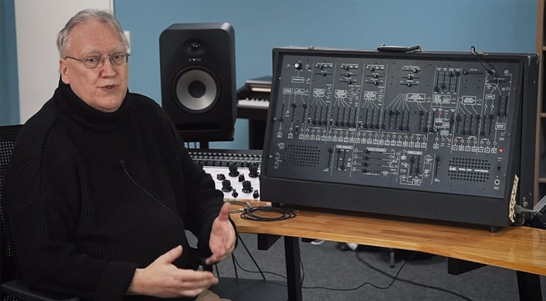 Behringer's Rob Keeble with an original ARP 2600