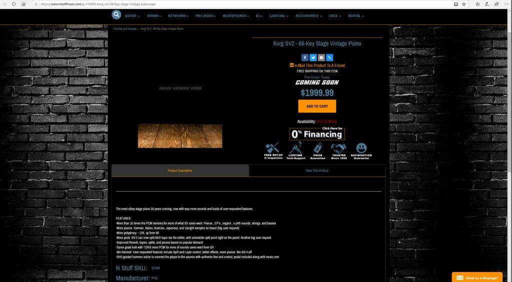 Korg SV2 leak on nstuffmusic.com