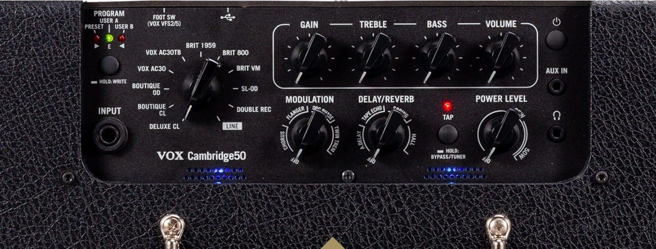Vox Cambridge 50 combo top panel