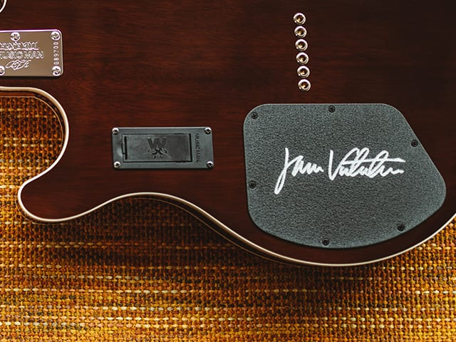 Each guitar is hand signed by James Valentine
