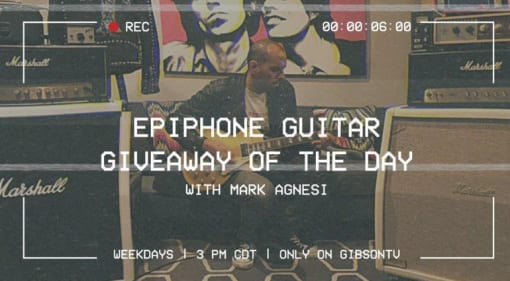 Mark Agnesi giving away a new Epiphone guitar every day