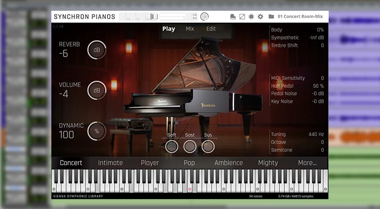 Vienna Symphonic Library Bosendorfer Imperial sample pack GUI