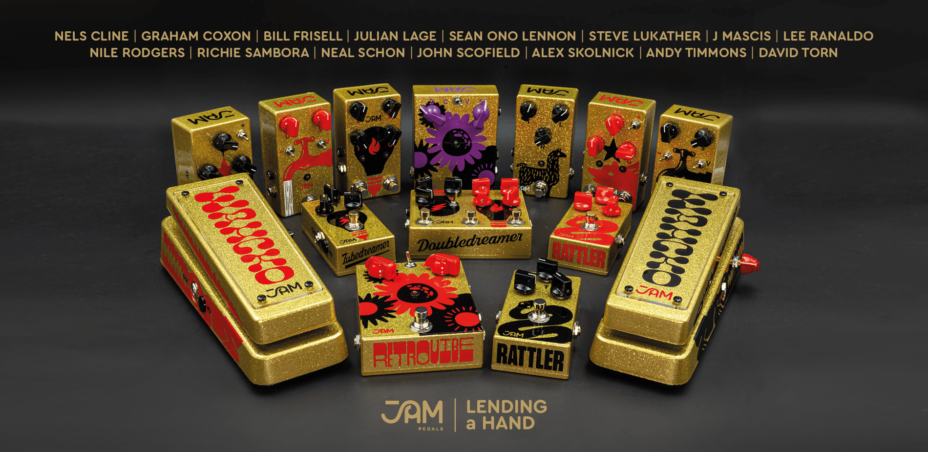 JAM Pedals Lending A Hand gold signed effects pedals