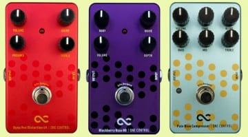 One Control Dyna Red Distortion 4K, Pale Blue Compressor and Blackberry Bass Overdrive pedals