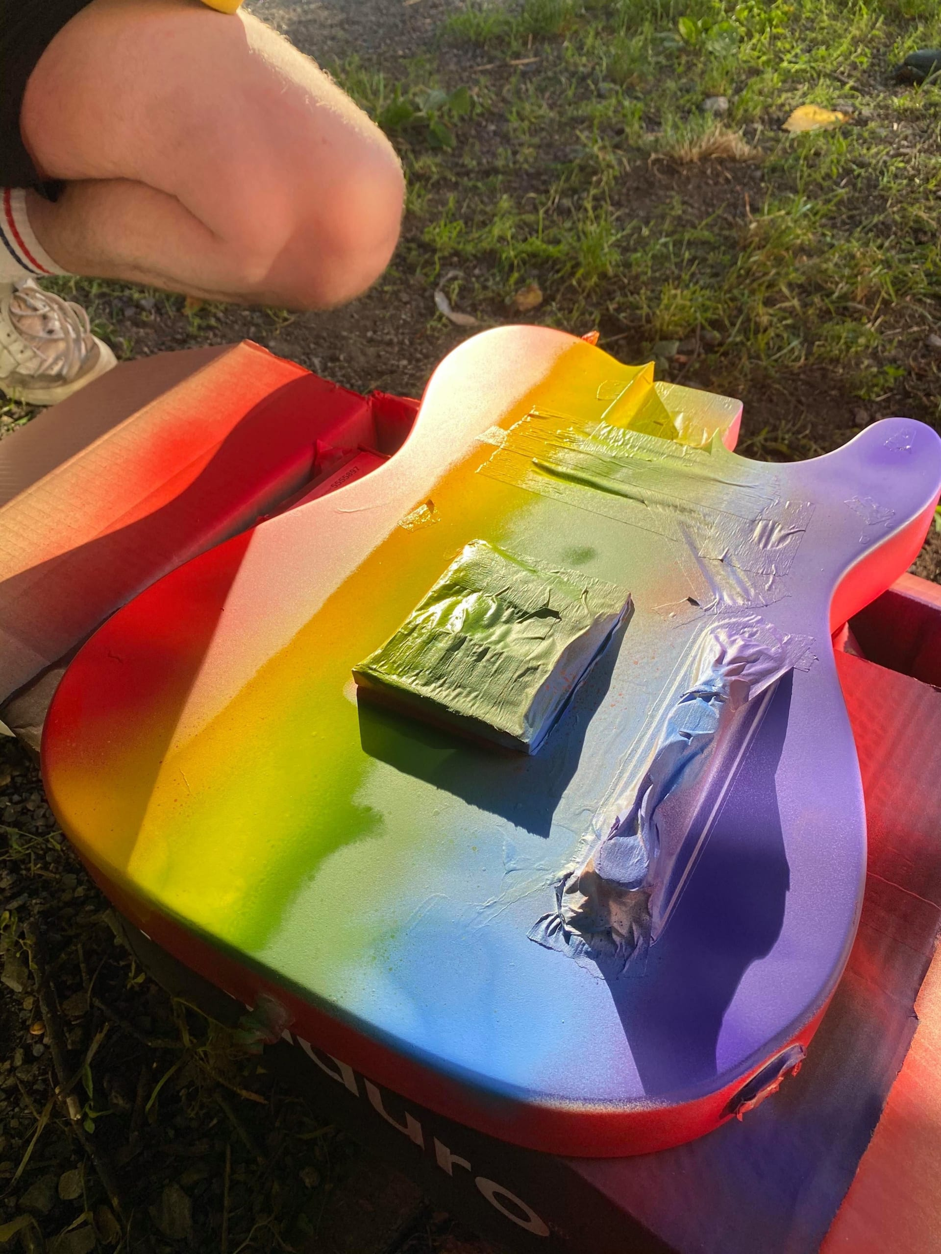 Fender and Girl In Red one off Rainbow Player Series Telecaster