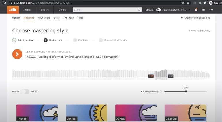 SoundCloud online mastering