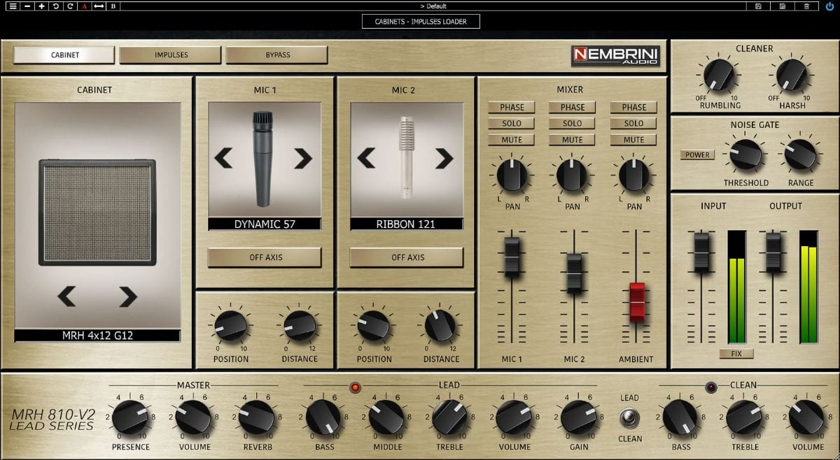 Nembrini Audio allows you to play with microphone and cabinet settings