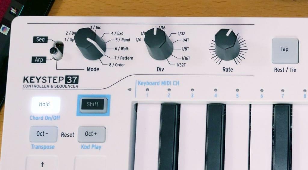 Arturia KeyStep 37 arpeggiator and sequencer controls