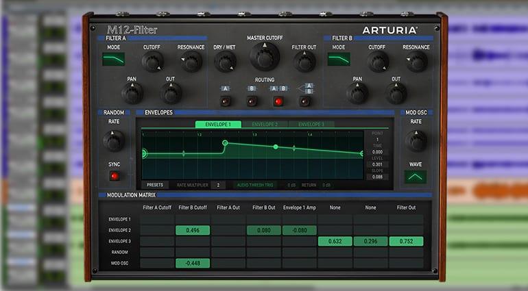 arturia m12 filter plugin GUI