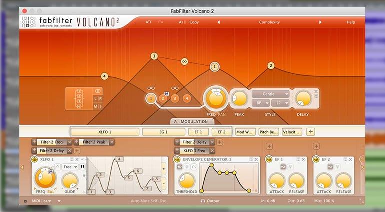 fabfilter volcano 2 plugin GUI