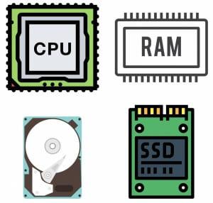 CPU, RAM, Hard Disk & SSD