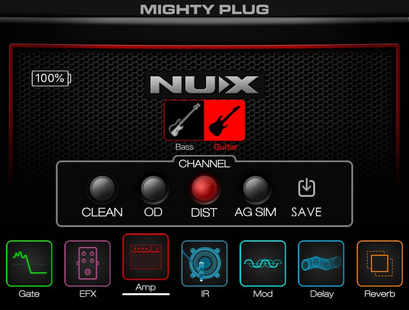 GUITAR CHANNELS: CLEAN - OVERDRIVE - DISTORTION - ACOUSTIC GUITAR SIMULATOR