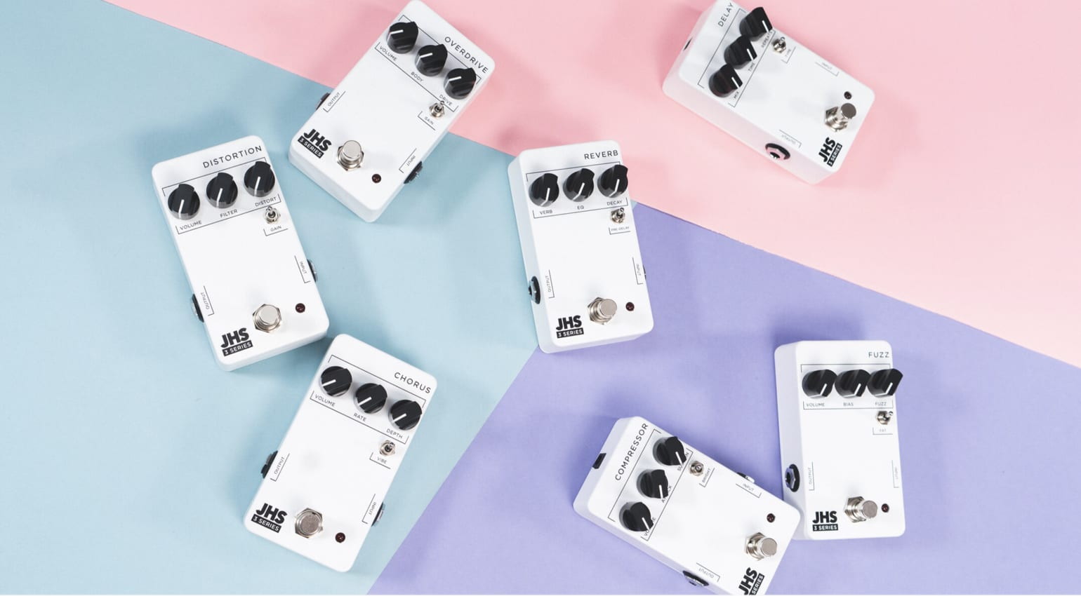JHS Pedals Series 3 with simple control layout for each effect