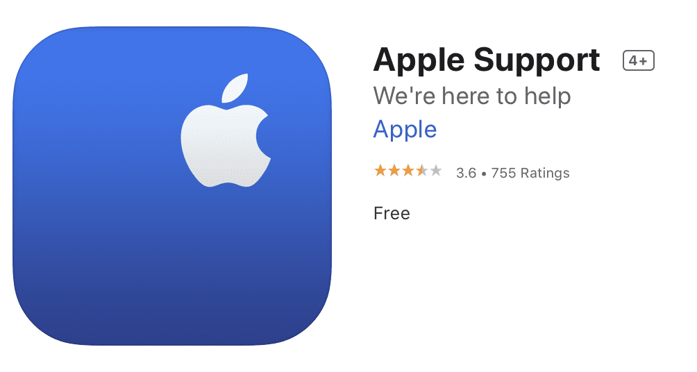 The free to download Apple Support app for iPhone and iPad