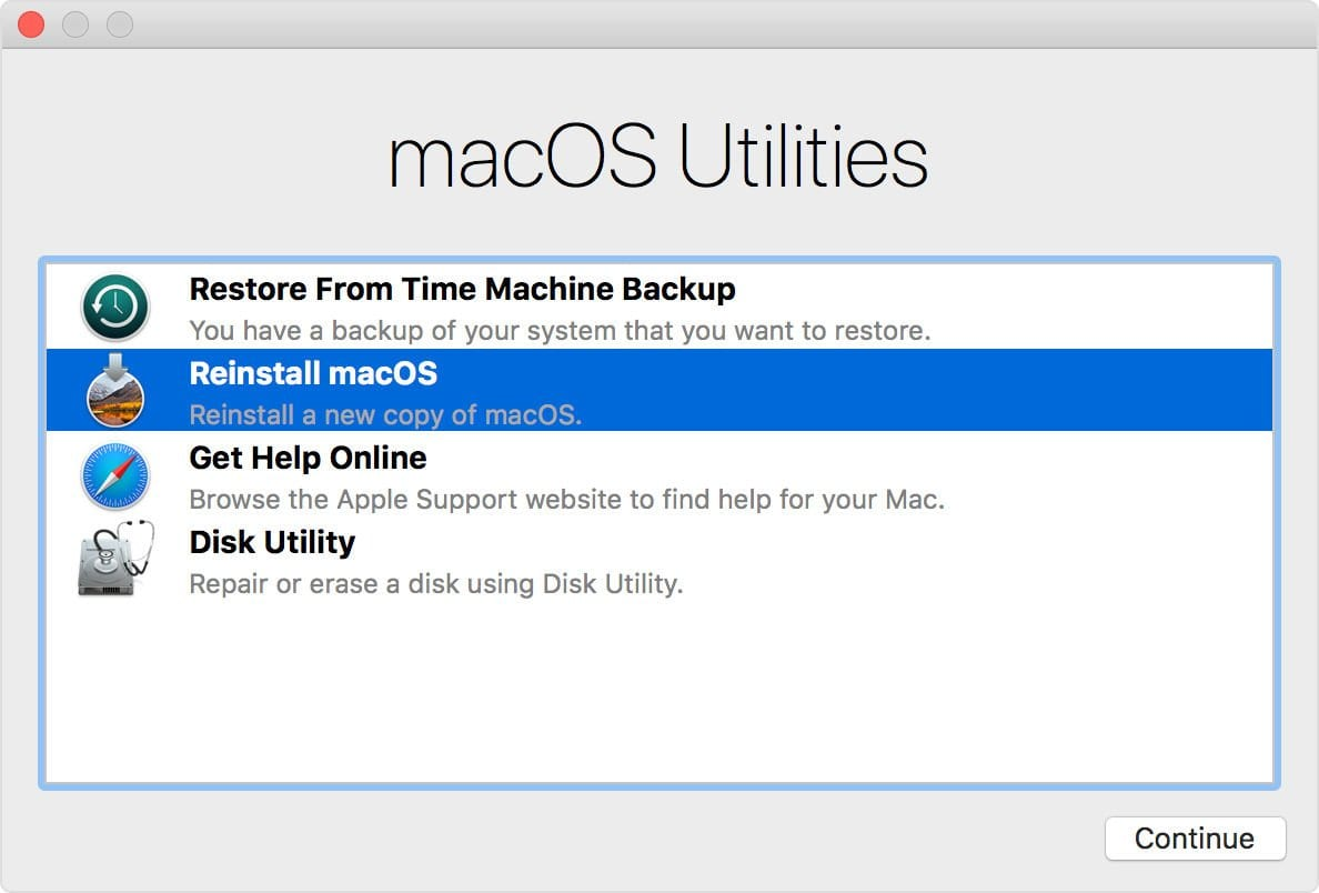 Eventually your Mac will show the Recovery Mode Utilities after you have held down Command & R keys as it boots up
