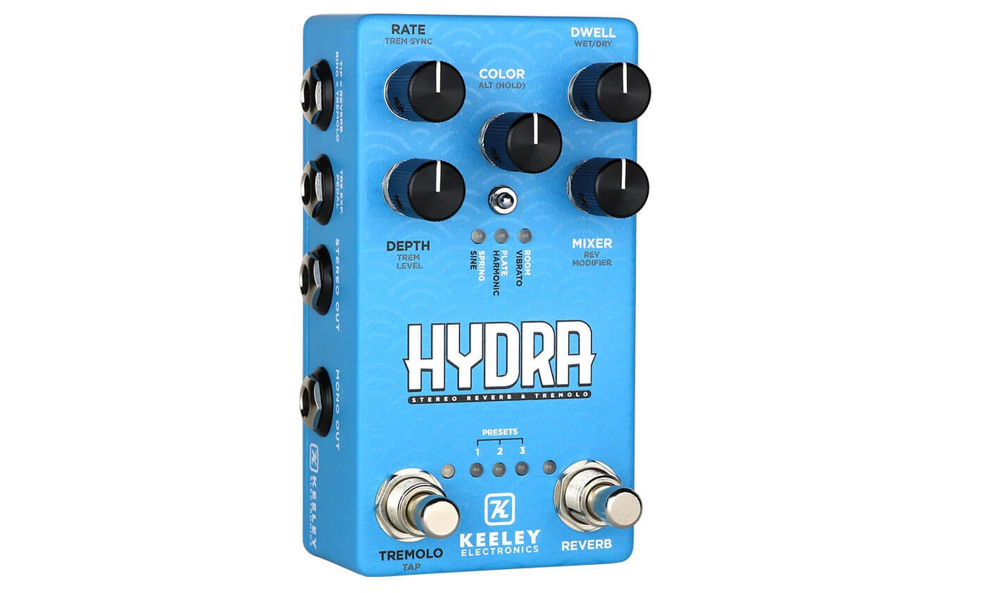 Keeley Hydra Stereo Reverb & Tremolo has a handy expression pedal input