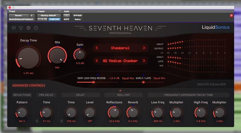liquidsonics seventh heaven professional reverb plugin GUI