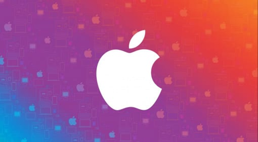 Apple logo on colorful background