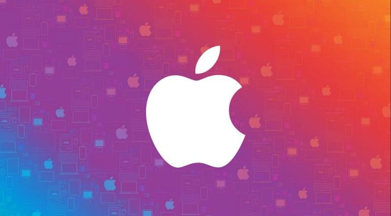 Apple logo on colorful background