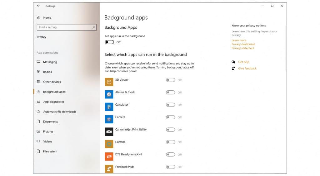 Windows - Background Apps