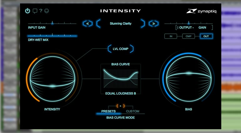 zynaptiq intensity plugin GUI