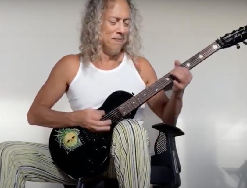Kirk Hammett enjoying his new KH-3 Spider Eclipse