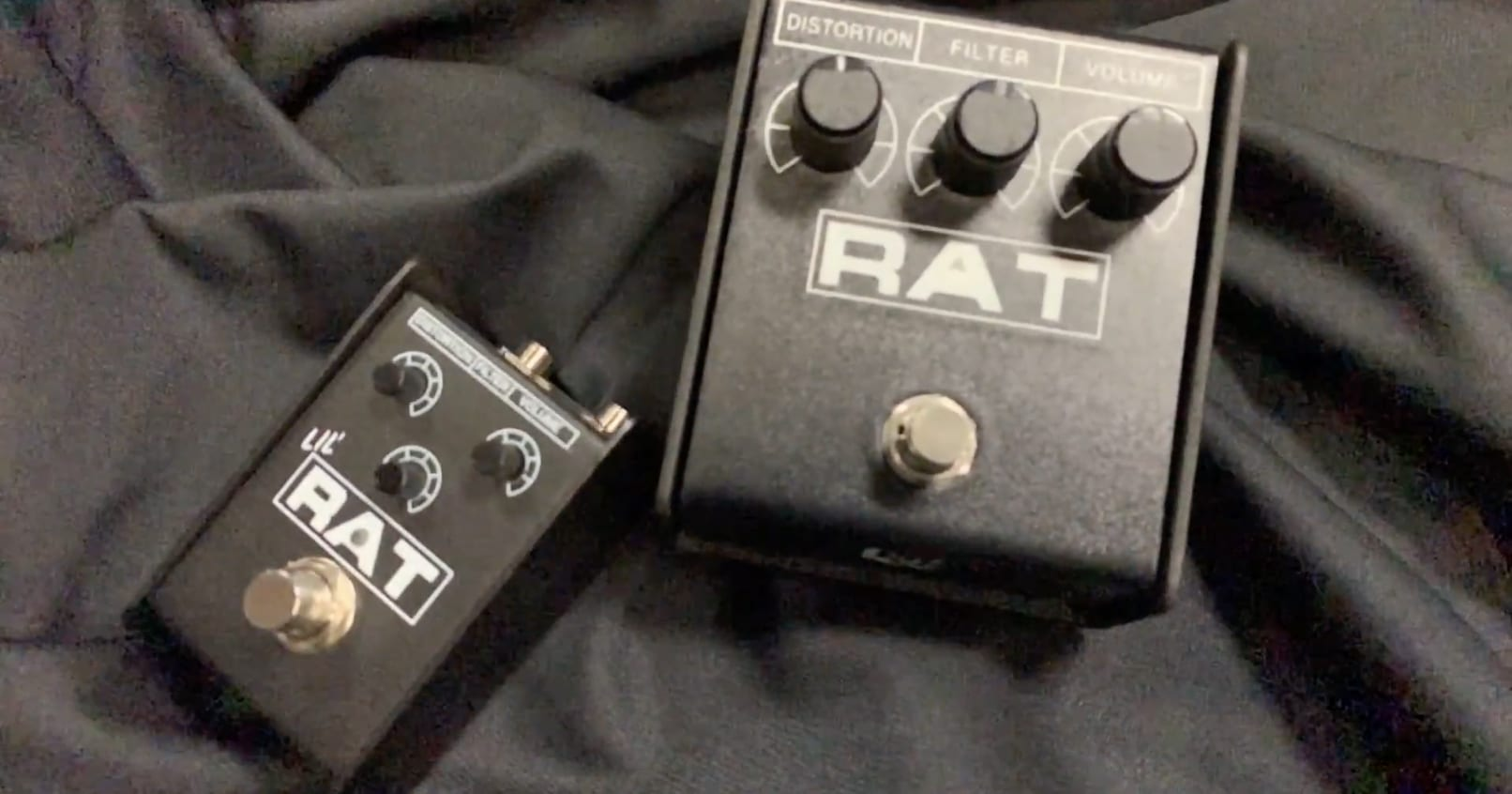Lil Rat next to a Rat 2 pedal