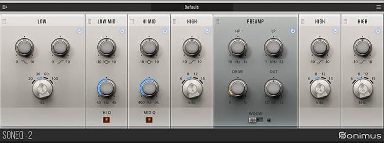Sonimus SonEQ 2: A sleek modular 4-band EQ and saturation plug-in