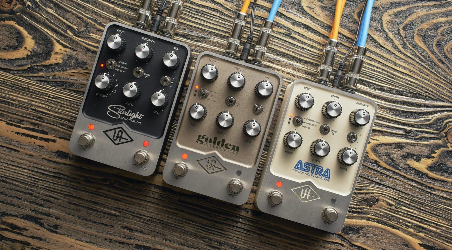 UAFX Pedals Golden Reverberator, Starlight Echo Station, and Astra Modulation Machine