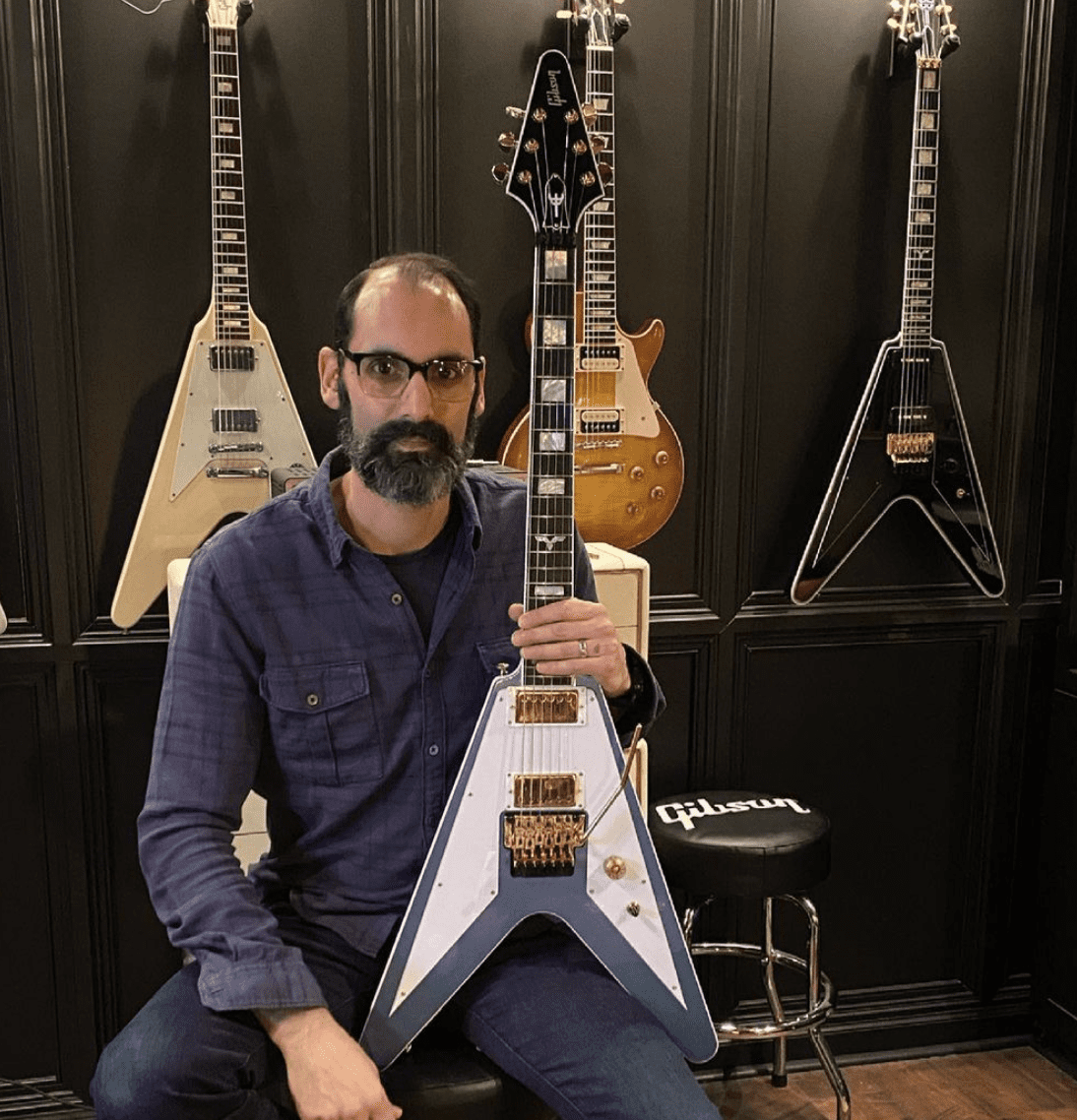 Cesar Gueikian with new Gibson version of Richie Faulkner's signature flying V